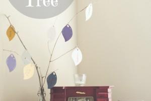 DIY thankful tree, paint sample thankful tree, paint sample ideas