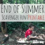 End of Summer Scavenger Hunt Printable