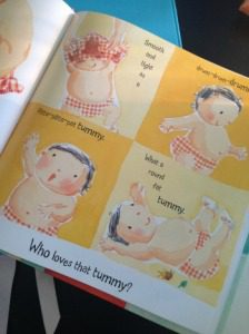 """As your child develops and shows signs of learning new vocabulary, don't simply read the books - ask questions about what you are reading! For example when reading about baby's tummy in All of Baby Nose to Toes, ask your child """"what did you put in your tummy today?"""""""
