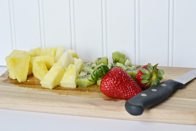 cutting fresh fruit