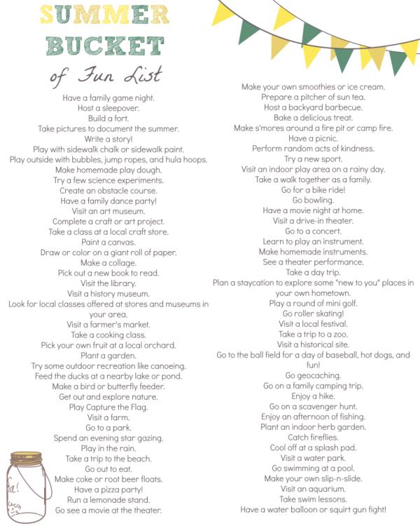 summer bucket list of fun printable