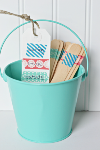 washi sticks in bucket