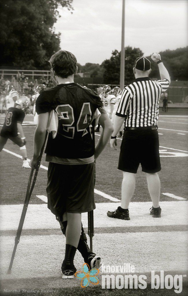 How he's spent his 2015 season - on the sidelines. Photo courtesy of Marena Bradley.