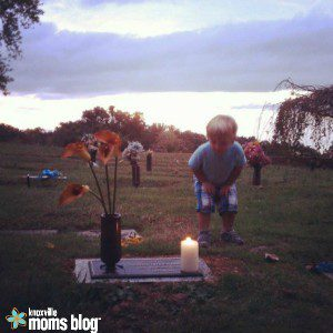 Our first year participating in Wave of Light — 2013. We lit a candle at Gabriel's grave.