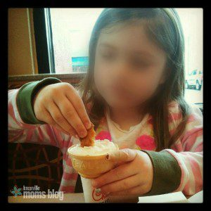 Teaching my daughter the glory of dipping her chicken nuggets in an Icedream cone.