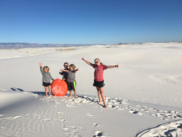 kids at White Sands National Monument