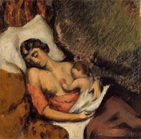 Hortense Breast Feeding Paul, Paul Cezanne1872