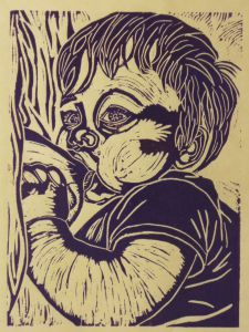 Untitled (Sharing), 2008, Linocut, Artist Unknown
