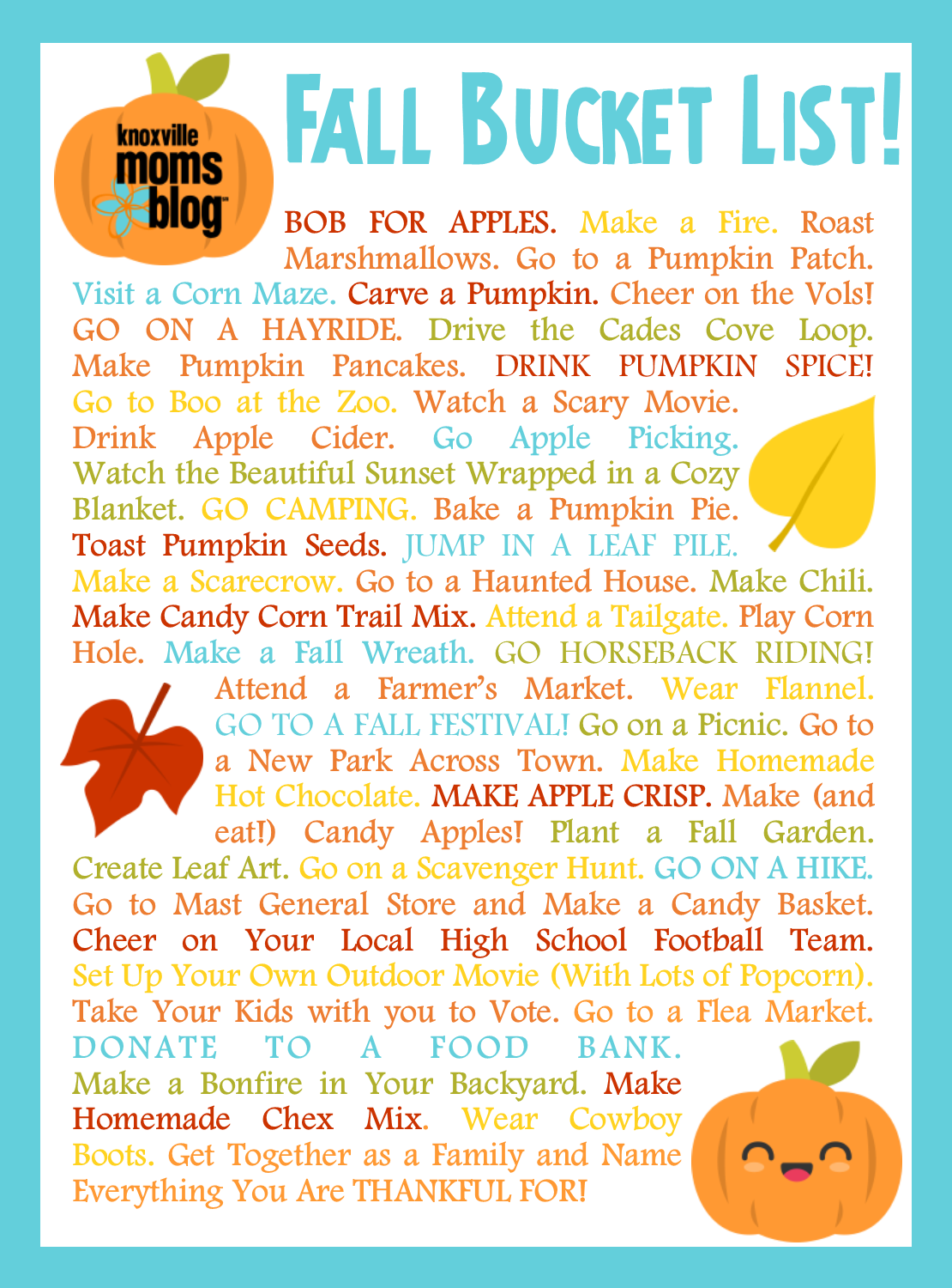 Fall Bucket List: 50 Fun Fall Things to Do in Knoxville | Knoxville Mom's Blog