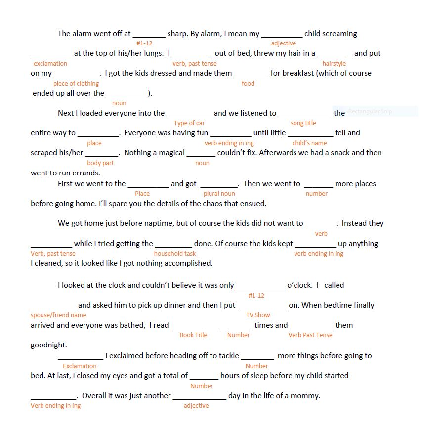 image regarding Printable Funny Mad Libs identified as A Working day In just the Lifetime of a Mommy, Nuts Libs Layout