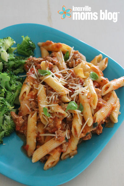Spend less time in the kitchen and more time with your family with this quick Penne with Turkey Ragu recipe! #recipe #quickrecipe #easyrecipe #turkey #pasta #kmb #kmbrecipes