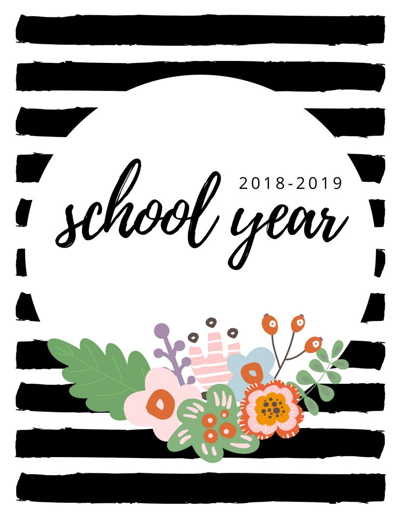 2018-2019 School Year Binder Printable