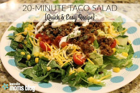 20 Minute Taco Salad (Quick and Easy Recipe) on Knoxville Moms Blog #recipe #maindish #quickrecipe #easyrecipe
